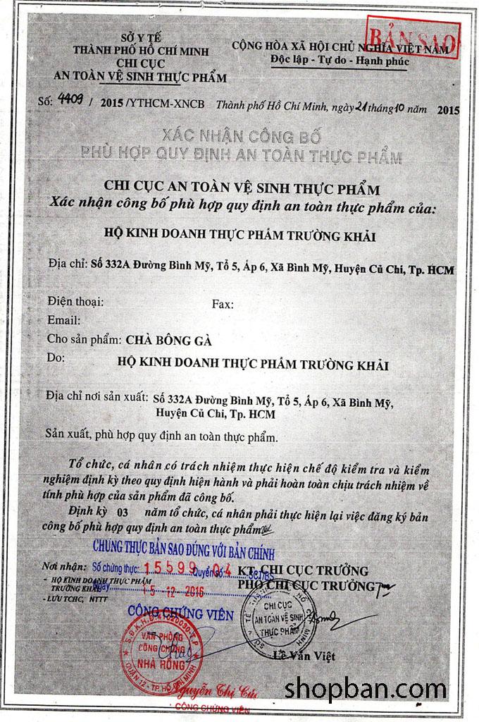 giấy chứng nhận an toàn thực phẩm khô gà xé lá chanh